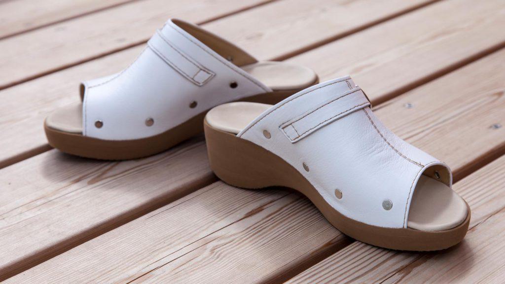 Maßschuhe Damen: Sandalen, weißes Leder