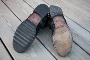Schuhreparatur Sohle, schwarze Halbschuhe