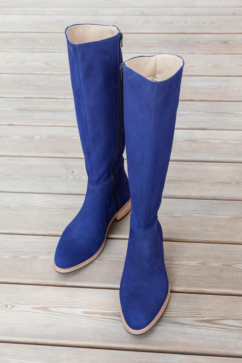 blaue Damen-Winterstiefel nach Maß