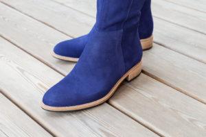 Stiefel, Maßschuhe für Damen, Fußteil, blaues Leder