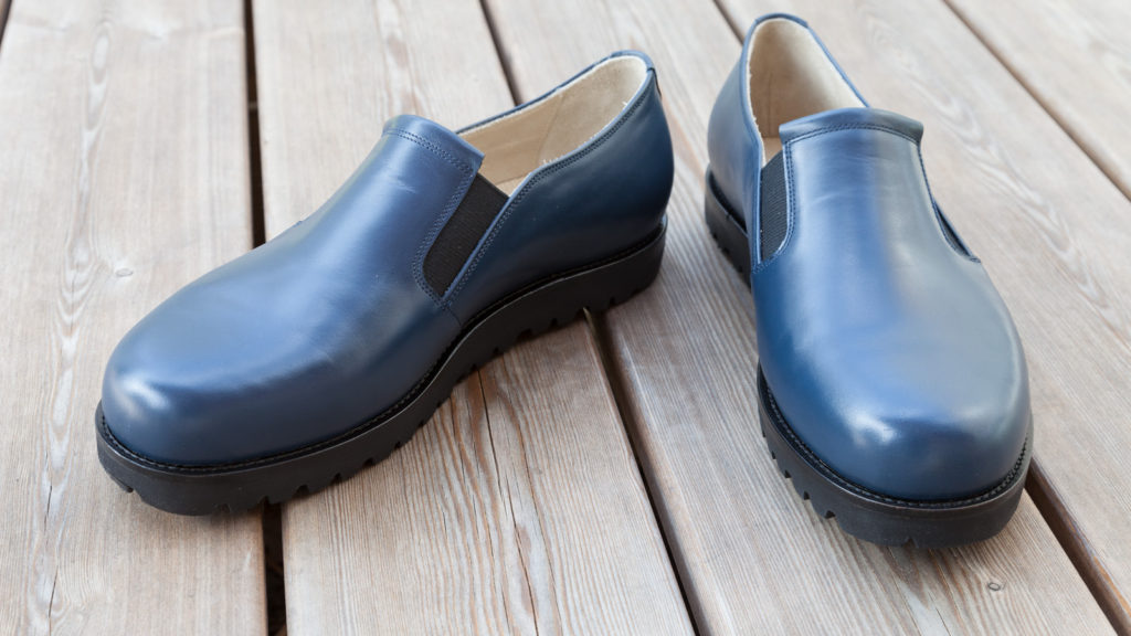 Maßschuhe für Damen, Übergröße, blaues Leder
