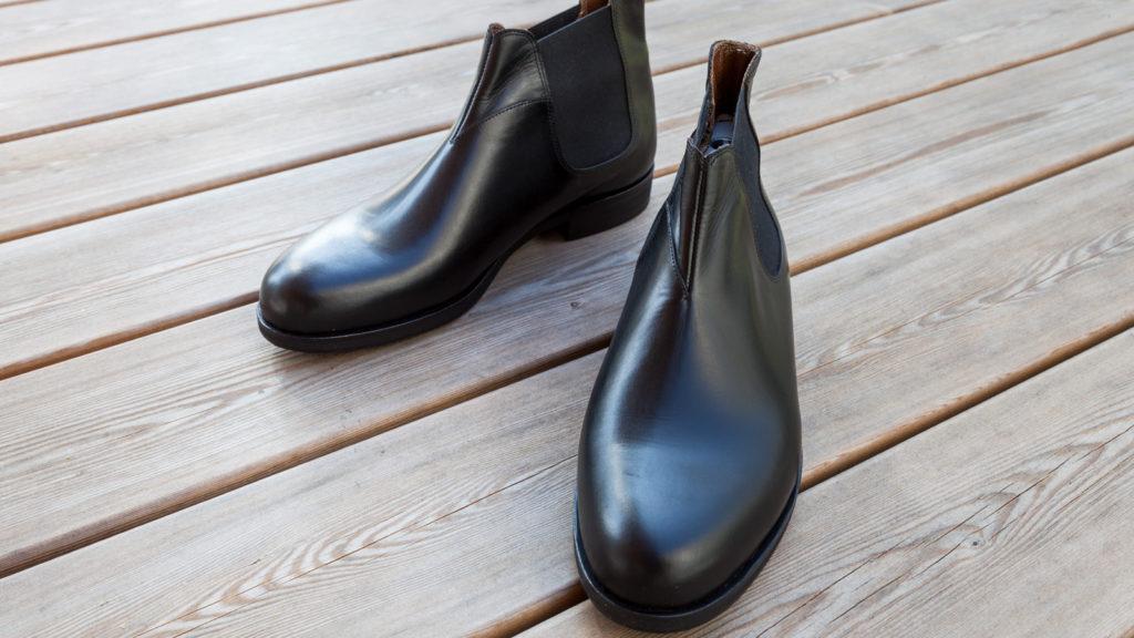 Schwarze Stiefeletten für Herren, handgemacht, mit Gummizug, Größe 43/44