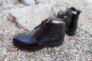 Handgemachte Herrenschuhe, schwarzes Leder, Derby halbhoch, Gummisohle, durchgenäht, EUR 470,--, Abb. Größe 40/41