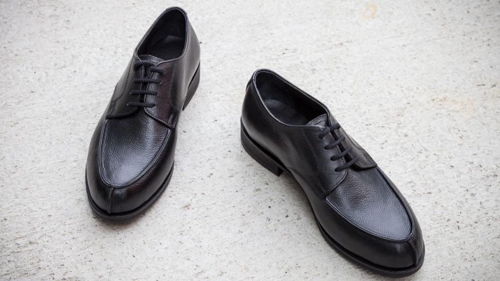 Schwarze Herrenschuhe aus Leder, handgemacht, Norweger, Größe 41/42