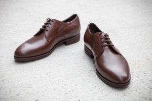 Handgemachte Schuhe, Derby, braunes Leder, Gummisohle, durchgenäht, EUR 450,--, Abb. Größe 42