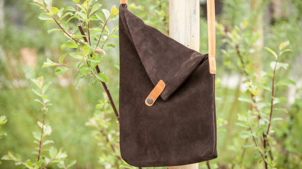 Rauhledertasche für Damen, braunes Leder