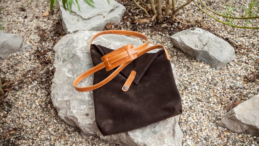 Handgefertigte Tasche aus braunem Leder für Damen, A4