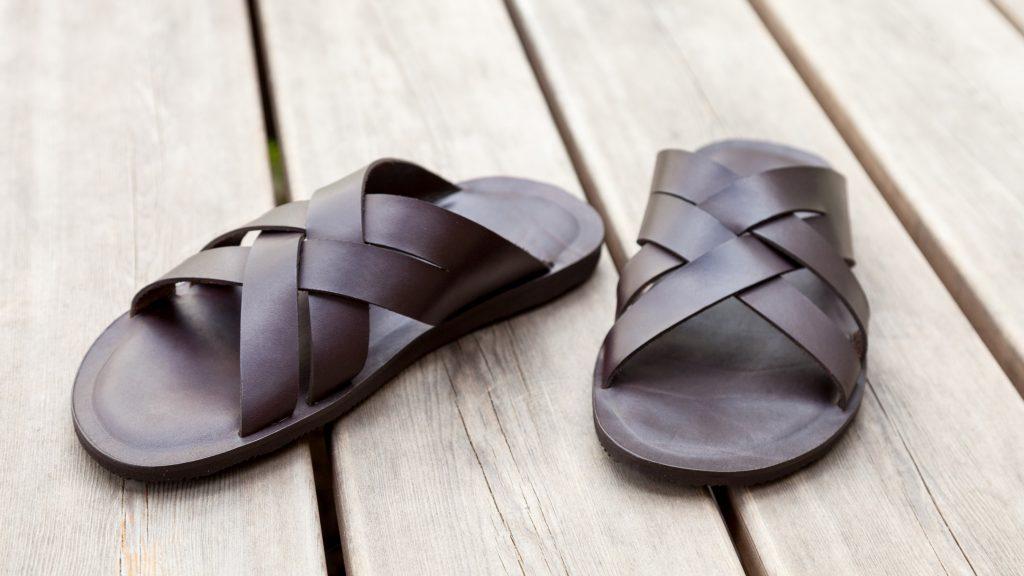 Schwarze Sandalen, Herren, handgemacht