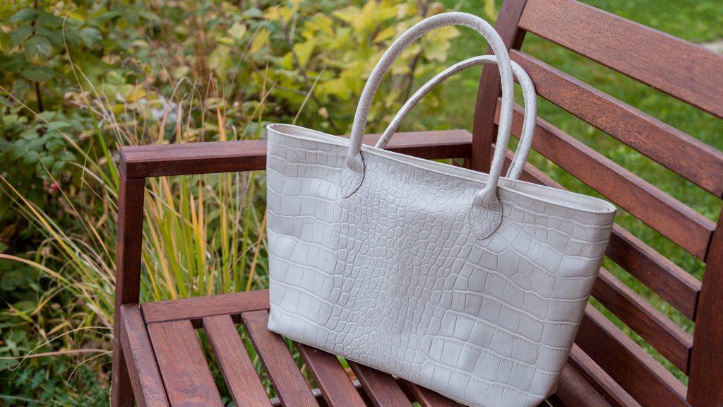 Handgemachte weiße Handtasche Damen, Shopper