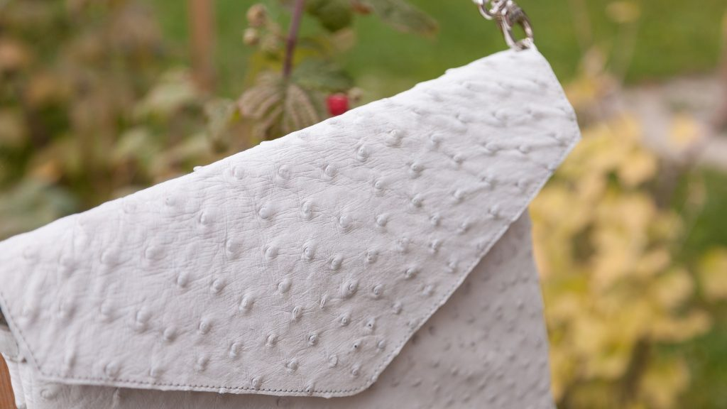 Weiße Handtasche Damen, Straußenleder